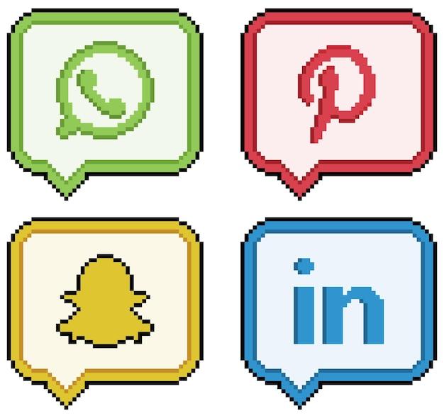 Ikony mediów społecznościowych i sieci społecznościowych w sztuce pikselowej