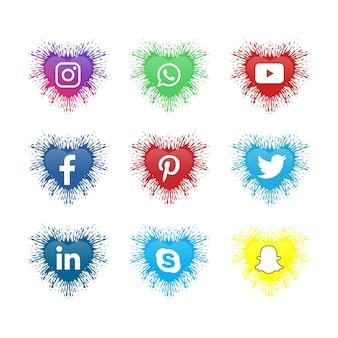 Ikony mediów społecznościowych kolekcja logo mediów społecznościowych z kształtem miłości