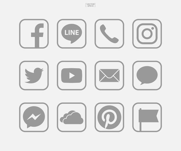 Ikony mediów społecznościowych na białym tle. ilustracja wektorowa.