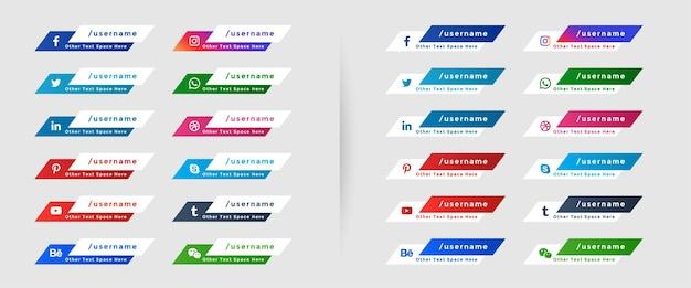 Ikony mediów społecznościowych niższy trzeci szablon banerów