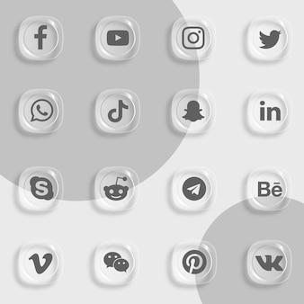 Ikony mediów społecznościowych pakują efekt przezroczystego szkła