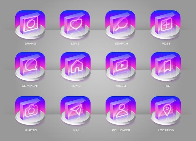 Ikony mediów społecznościowych ustawić przezroczysty styl przycisku