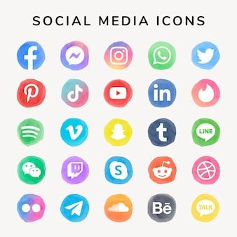 Ikony mediów społecznościowych wektor zestaw akwarela z facebook, instagram, twitter, tiktok, youtube itp