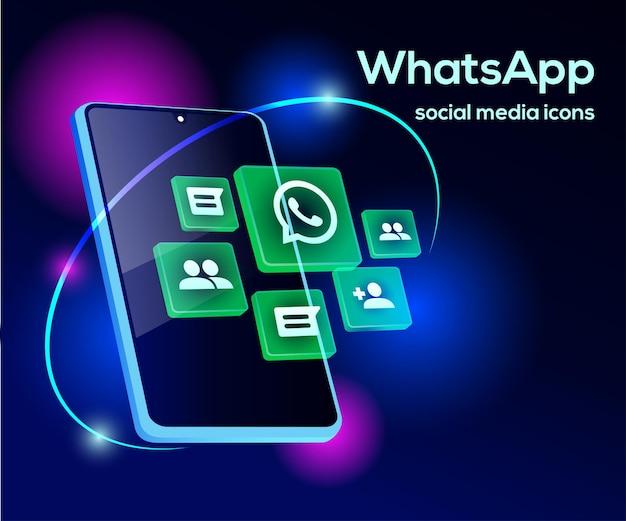 Ikony mediów społecznościowych whatsapp z symbolem smartfona