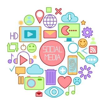 Ikony mediów społecznościowych z emotikonami i urządzeniami internetowymi.