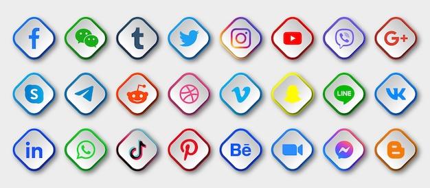 Ikony mediów społecznościowych z okrągłymi nowoczesnymi przyciskami