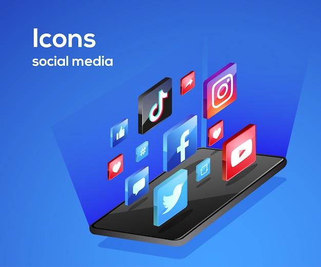 Ikony mediów społecznościowych ze smartfonem