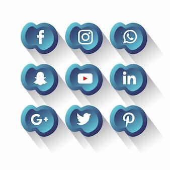 Ikony mediów społecznych pakiet wektor