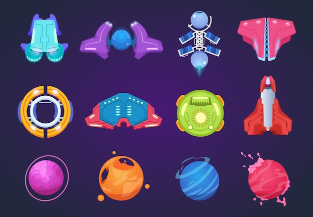 Ikony miejsca kreskówka. statki kosmiczne obce planety ufo rakiety i rakiety lotnicze. kosmiczne dzieci fantastyczne przedmioty do gry