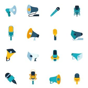 Ikony mikrofonu i megafonu płaskie