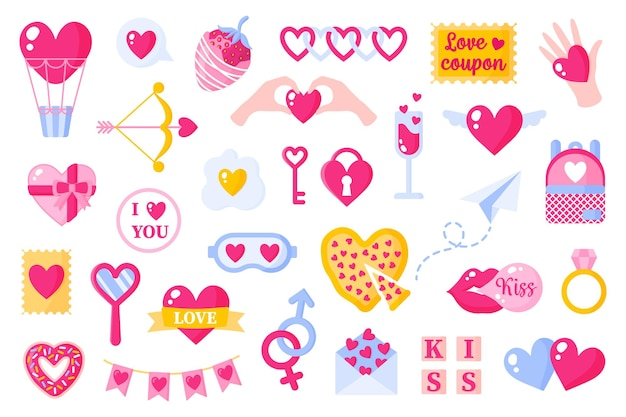Ikony miłości ustawione na walentynki lub wesele. balon, strzałka, klucz, pizza, pocałunek, guma, prezent, truskawka, samolot itp. płaska konstrukcja na białym tle.