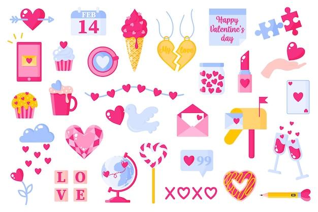 Ikony miłości ustawione na walentynki lub wesele. lody, serce, wiadomość, kula ziemska, diament, szkło, skrzynka pocztowa, pączek itp. płaska konstrukcja na białym tle.