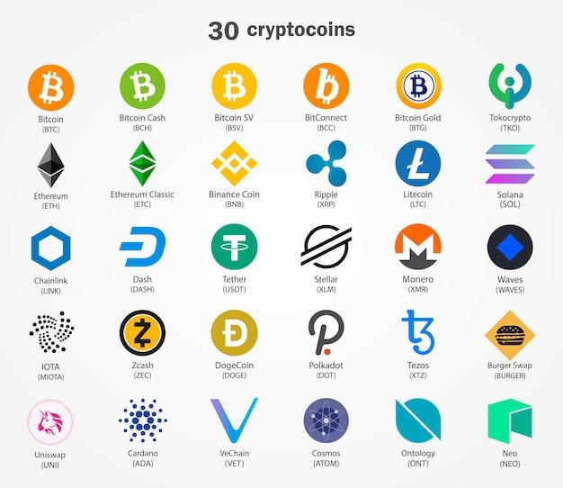 Ikony monet kryptowalut na białym tle