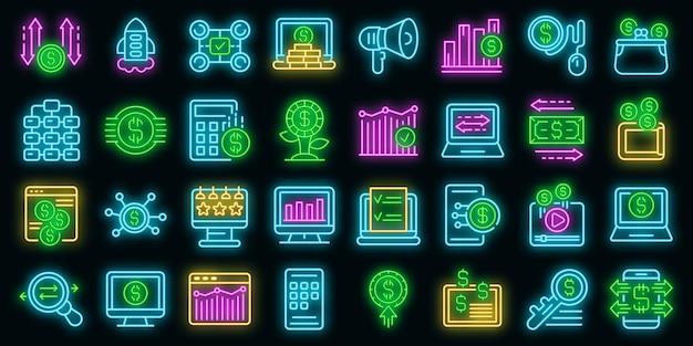 Ikony monetyzacji ustawić wektor neon