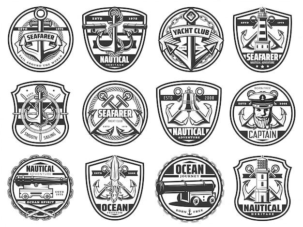 Ikony morskie, morski statek marynarski, kotwica, ster