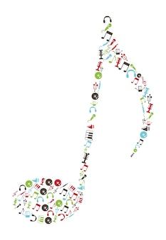 Ikony muzyczne na białym tle ilustracji wektorowych