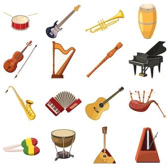 Ikony muzyczne ustawione w stylu kreskówki dla każdego projektu