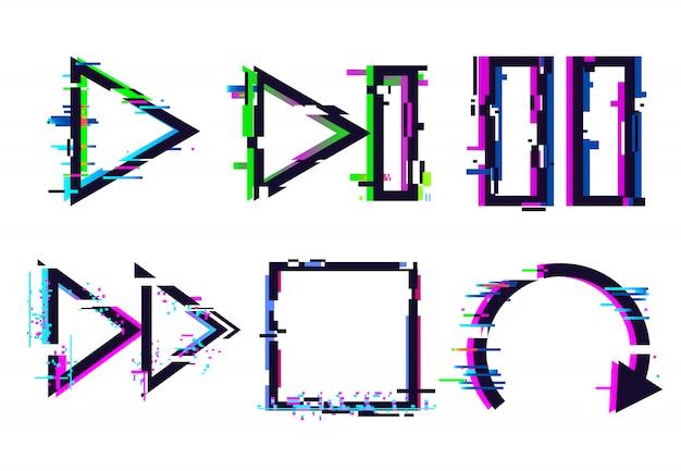 Ikony muzyki glitch, ikona zatrzymania zatrzymania odtwarzania glitched, usterki sygnału telewizyjnego i zestaw efektów cyfrowych zniekształceń