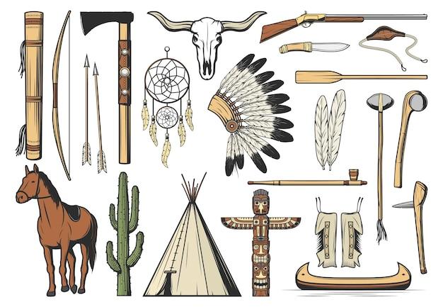 Ikony na białym tle rdzennych amerykanów, dzikiego zachodu i plemienia indyjskiego