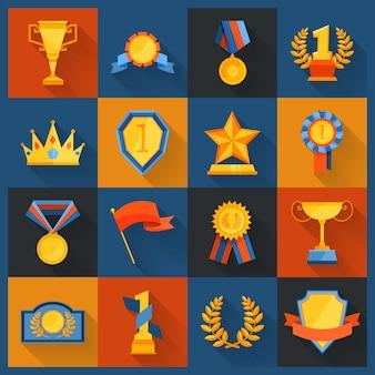 Ikony nagrody ustawione na płasko