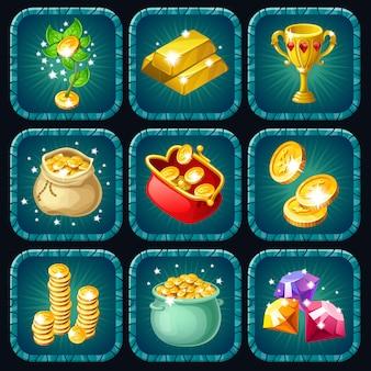 Ikony nagrody za grę komputerową.