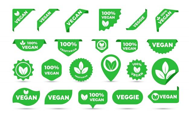 Ikony naklejek na wegańskie tagi
