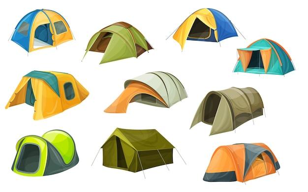 Ikony namiotów kreskówek, sprzęt kempingowy, kopuły kempingowe.
