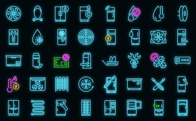 Ikony naprawy lodówki wektor zestaw neon
