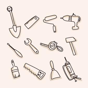Ikony narzędzi budowlanych