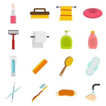 Ikony narzędzi higieny w stylu płaski