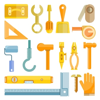 Ikony narzędzia budowy i cieśli
