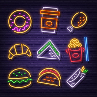 Ikony neonowe fast food
