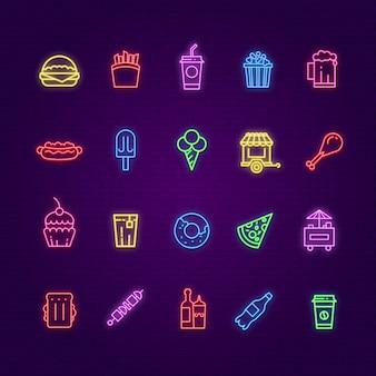 Ikony neonowe żywności. znak koloru burger, lody i napoje, hot dog i pizza. nocny bar, restauracja lub kawiarnia świecące symbole. ilustracja burger, napój i hamburger z neonową żywnością