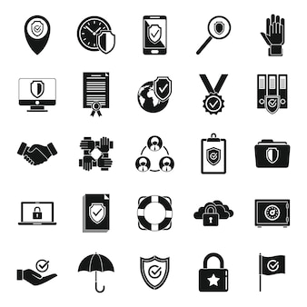 Ikony niezawodności klienta zestaw prosty wektor. zasady społeczne. zaufaj pracownikowi