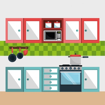 Ikony nowoczesnej sceny kuchni