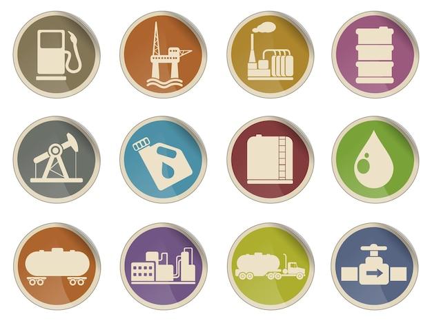 Ikony obiektów przemysłu naftowego i benzynowego