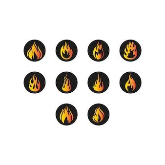 Ikony ognia na czarnym tle