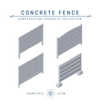Ikony ogrodzenia betonowego, widok izometryczny.