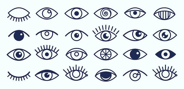 Ikony oka. nakreśl symbole rzęs i oczu.