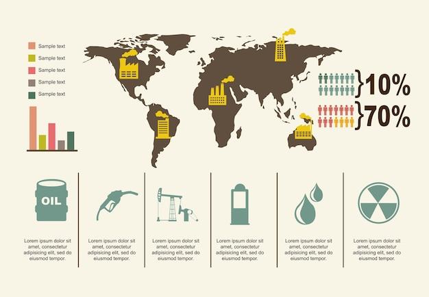 Ikony oleju na beżowym tle ilustracji wektorowych
