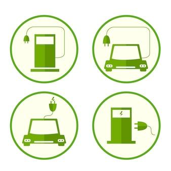Ikony paliwa energii. płaski styl. paliwa bezpieczne i przyjazne dla środowiska. ekologia ikon planety. ładowanie samochodu. wtyczka elektryczna. stacja paliw. ilustracja wektorowa.