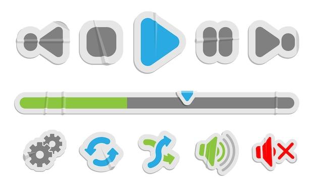 Ikony papieru kontroli audio wideo. przyciski sterowania multimediami