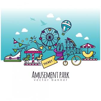 Ikony parku rozrywki, szablon transparent przyciągania