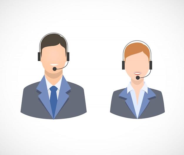 Ikony personelu obsługi centrum obsługi telefonicznej