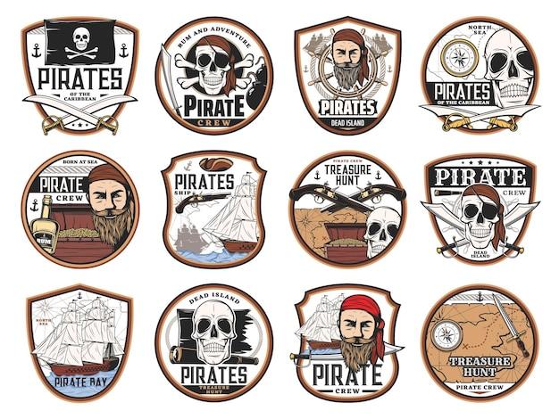 Ikony piratów i korsarzy z czaszkami wektorów, kapitanami, statkami, mapą skarbów i skrzynią. pirackie czarne flagi, opaski na oczy, broń i miecze, żaglówka, ster, kompas, rum i luneta izolowane odznaki