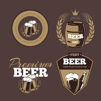 Ikony piwa, etykiety, szyldy na plakaty i banery. festyn piwa, piwo premium, ilustracja piwa etykietowego, butelka alkoholu do piwa. zestaw