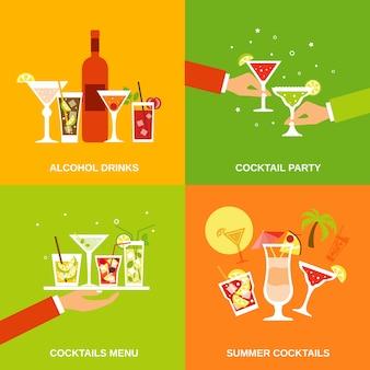 Ikony płaskie koktajle alkoholowe