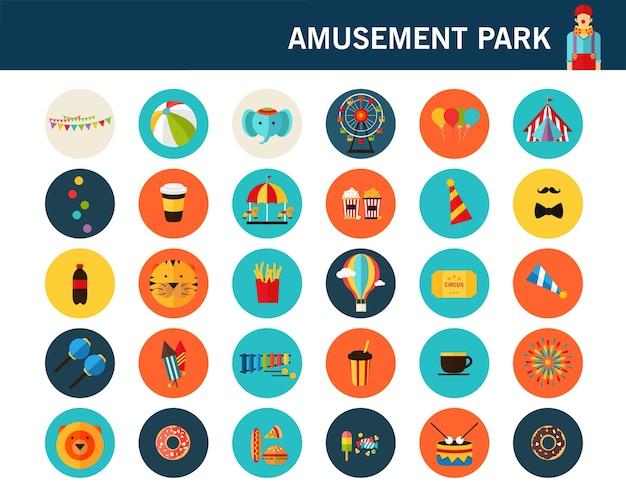 Ikony płaskie koncepcja parku rozrywki.