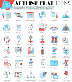 Ikony płaskiej linii zarządzania przedsiębiorstwem