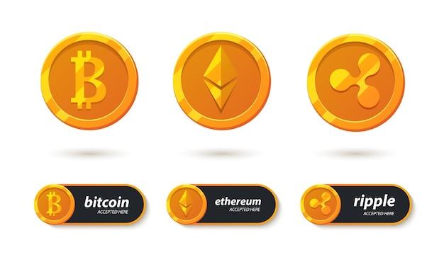 Ikony płatności bankowych kryptowaluty. bitcoin, ethereum, ripple akceptowane tutaj. elektroniczny system kryptograficzny - zestaw ikon. przycisk do projektowania aplikacji i stron internetowych.